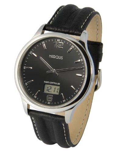 Elegante MARQUIS Herren Funkuhr Junghans Uhrwerk Schwarzes Lederarmband Edelstahlgehaeuse 964 6178