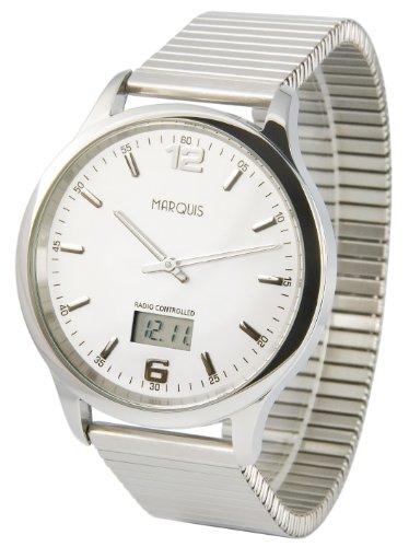 Elegante MARQUIS Herren Funkuhr Junghans Uhrwerk Gehaeuse und Armband aus Edelstahl 964 6120