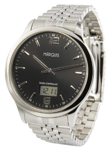 Elegante MARQUIS Herren Funkuhr Junghans Uhrwerk Gehaeuse und Armband aus Edelstahl 964 6123