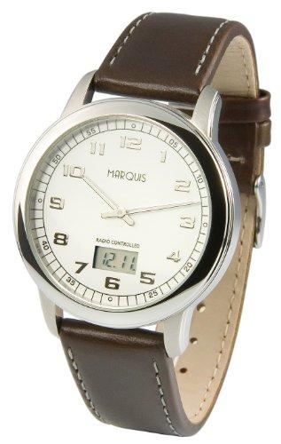 Elegante MARQUIS Herren Funkuhr Junghans Uhrwerk Edelstahlgehaeuse Armband aus echtem Leder 964 4902