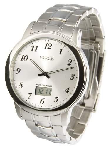 Elegante MARQUIS Herren Funkuhr Junghans-Uhrwerk Gehaeuse und Armband aus Edelstahl 9646147