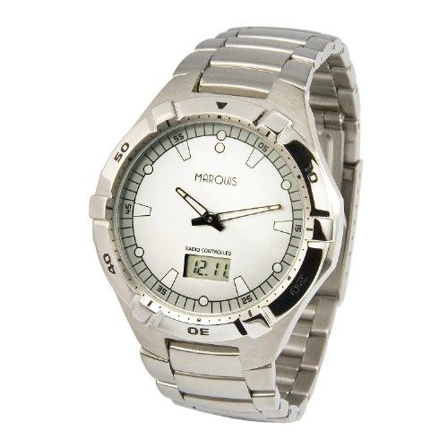 MARQUIS Herren Funkuhr Gehaeuse und Armband aus Edelstahl Armbanduhr Junghans Uhrwerk 964 6154
