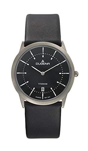 Dugena Herren-Armbanduhr Titan Analog Quarz Leder 4460338