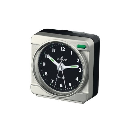 DUGENA 4277163 Wecker Kunststoff Analog Licht Alarm silber