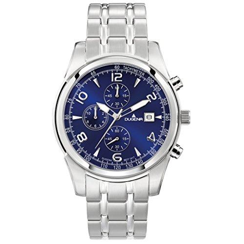 DUGENA 4460654 Chronograph Uhr Edelstahl 50m Analog Chrono Datum silber blau