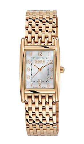 Dugena Damen Quadra Artdeco Armbanduhr Edelstahl gold