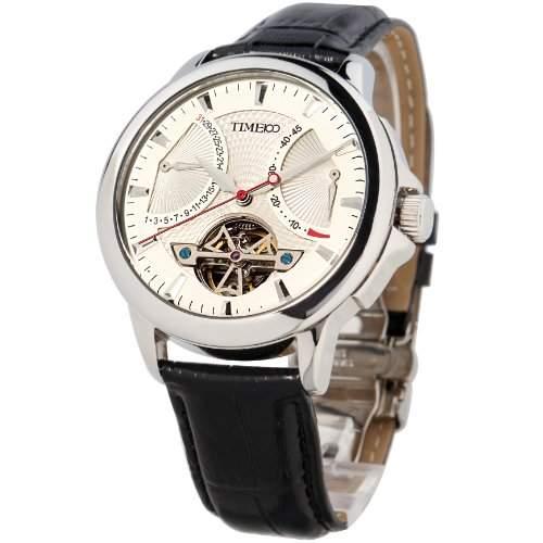 Time100 Herrenuhr Automatik Lederarmband Schwarz Mechanische Armbanduhr Saphirglas Uhr Chronograph Wasserdicht Silber #W70035G01A