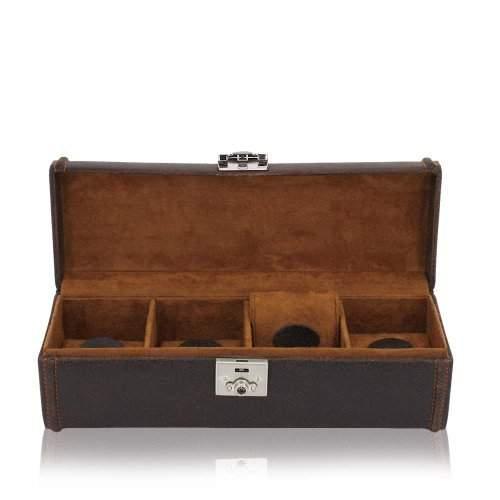 Uhrenbox Herren Cubano Leder braun fuer 4 Uhren zur Uhrenaufbewahrung
