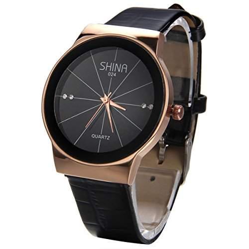 JewelryWe Herren Armbanduhr, Analog Quarz Wasserdicht, Fashion Einzigartig Elegant Schwarz Leder Armband Uhr mit Strass Schwarz Zifferblatt