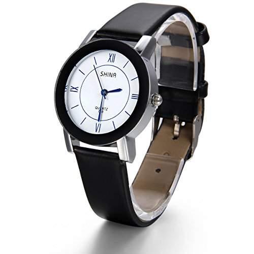 JewelryWe Damen Armbanduhr, Leder Legierung, Analog Quarz Armband Uhr mit Weiss Zifferblatt, Schwarz