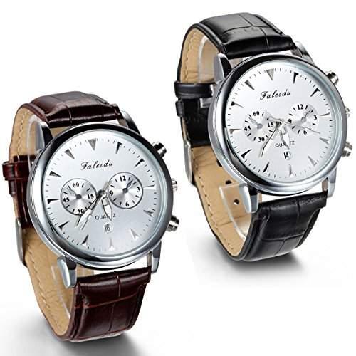 JewelryWe 2pcs Herren Armbanduhr, Wasserdicht Analog Quarz, Vintage Business Uhr mit Leder Armband, Schwarz Braun