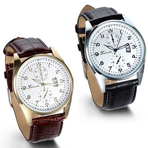JewelryWe 2pcs Herren Armbanduhr, Analog Quarz Wasserdicht, Einfach Casual Uhr mit Leder Armband, Schwarz Braun