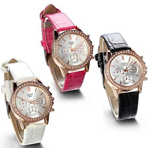 JewelryWe 3pcs Damen Armbanduhr, Analog Quarz, Fashion Exquisite Leder Armband Uhr mit Strass Zifferblatt, Rosa Schwarz Weiss