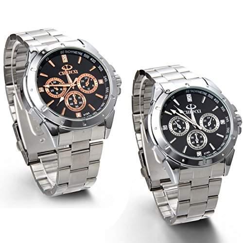 JewelryWe 2pcs Herren Armbanduhr, Analog Quarz, Luxus Business Casual Uhr mit Edelstahl Armband, Gauge-Nadeln Farbe Gold Silber