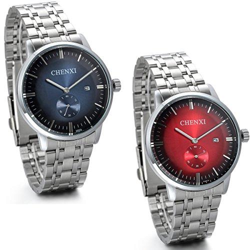 JewelryWe 2pcs Analog Quarz Luxus Elegant Business Kalender Uhr mit Edelstahl Armband Rund Zifferblatt Silber Blau Rot