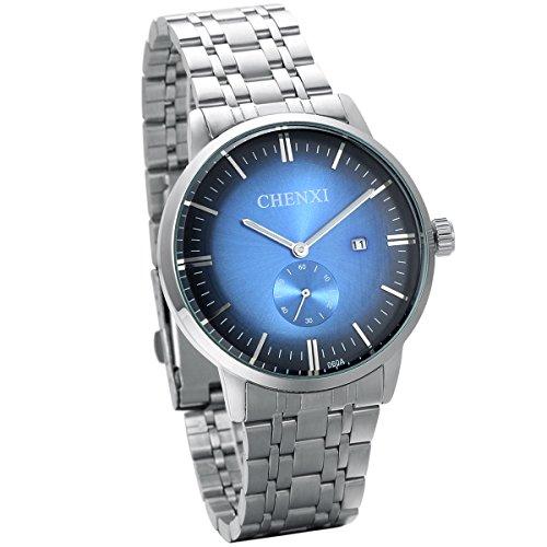 JewelryWe Analog Quarz Luxus Elegant Business Kalender Uhr mit Edelstahl Armband Rund Zifferblatt Silber Blau