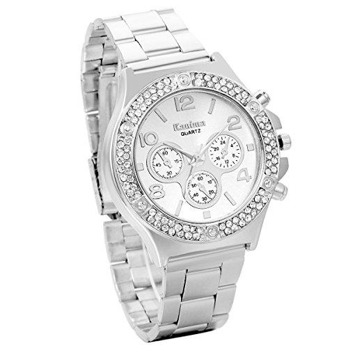 JewelryWe Herren Elegant Business Casual Edelstahl Band Quarz Analog Uhr mit Doppel Reihe Strass Digital Zifferblatt Silber