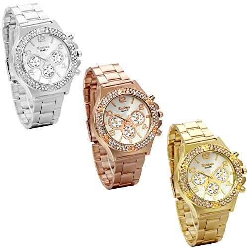 JewelryWe 3pcs Herren Elegant Business Casual Edelstahl Band Quarz Analog Uhr mit Doppel Reihe Strass Digital Zifferblatt Gold Silber Rose Gold