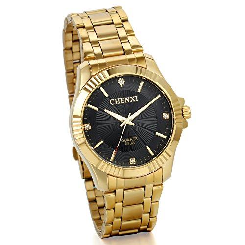 JewelryWe Herren Armbanduhr Analog Quarz Elegent Luxus Business Uhr mit Edelstal Armband Schwarz Gold Strass Zifferblatt Gold