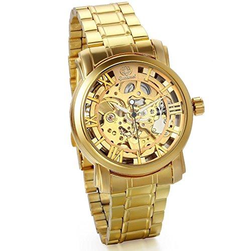 JewelryWe Business Casual Skelett mechanische Mechanik Uhr mit Edelstahl Armband Gold