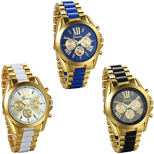JewelryWe 3pcs Analog Quarz Business Casual Edelstahl Armband Uhr mit Roemischen Ziffern Zifferblatt Gold Schwarz Blau Weiss