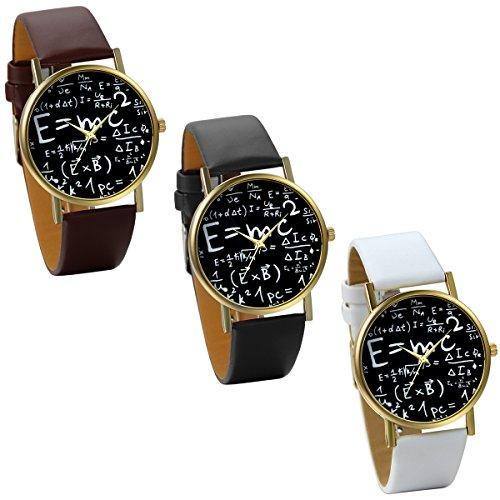 JewelryWe 3pcs Herren Damen Armbanduhr Unisex Albert Einstein Formel E mc Relativitaetstheorie Mathe Physik Quarz Analog Uhr mit Leder Band Schwarz Braun Weiss