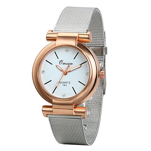 JewelryWe Elegant Silber Edelstahl Mesh Band Quarz Analog Uhr mit Rose Gold Zifferblatt A