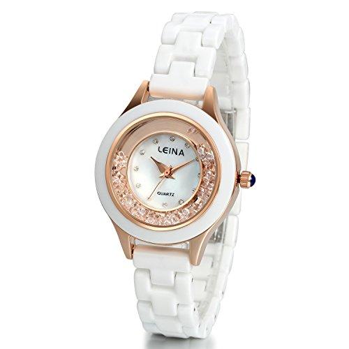 JewelryWe Elegant Charm Analog Quarz Uhr mit Exquisit Strass Muschel Zifferblatt Keramik Armband Rosa Gold Weiss