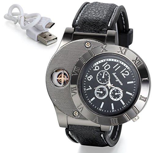 JewelryWe Herren Armbanduhr Analog Quarz Silikon Armband Uhr mit USB aufladbare elektronische Winddicht flammenlose Zigarettenanzuender Schwarz