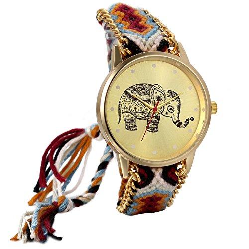 JewelryWe Analog Quarz Frauen ethnisch Geflochten Seil Armband Uhr mit Elefant Muster