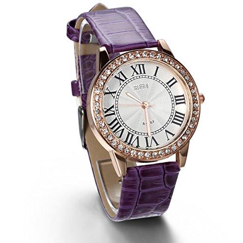 JewelryWe Analog Quarz Exquisite Leder Armband Uhr mit Strass Roemischen Ziffern Zifferblatt Lila