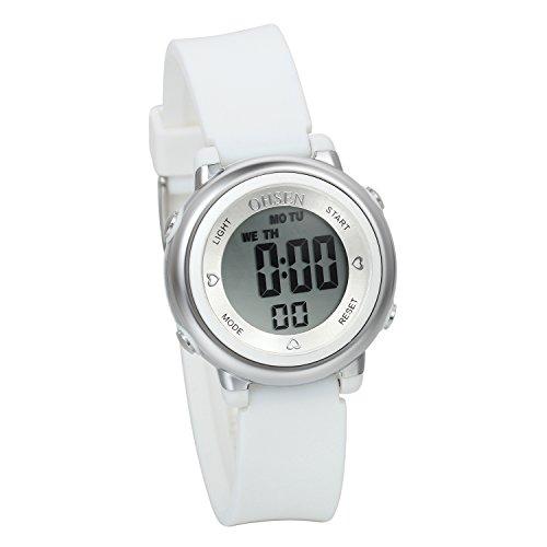 JewelryWe suesse Digital Digital Studenten Uhr mit LED Hintergrundbeleuchtung Alarm Stoppuhr Chronograph Glockenspiel Kalender Datum und Woche Weiss