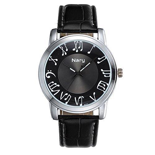 JewelryWe Armbanduhr Quartz PU Leder Armband Lederarmband Quarzuhr Graf Musik Noten Wasserdicht