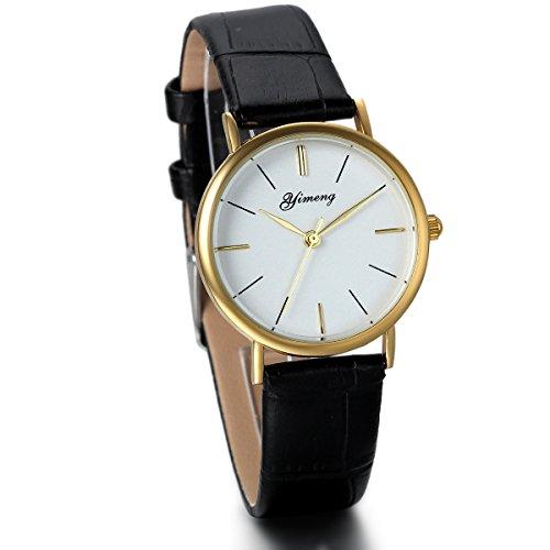 JewelryWe Damen Armbanduhr Lieben Valentinstag Geschenk Einfach Analog Quarz Uhr mit Schwarz Leder Armband