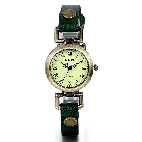 JewelryWe Vintage Leder Armband Armreif Quarz Analog Uhr mit Runde Digital Zifferblatt Gruen