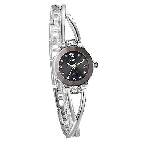 JewelryWe Elegant Kreuzung Armband Design mit Strass mit Digital Zifferblatt Spangenuhr Legierung Silber