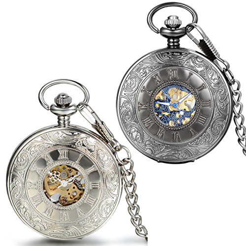 JewelryWe 2pcs Retro Roemische Ziffern Handaufzug mechanische Taschenuhr Skelett Uhr mit Halskette Kette Umhaengeuhr Vatertag Geschenk Schwarz Silber