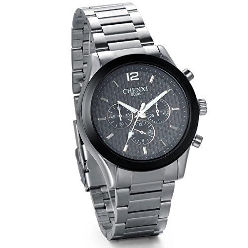 JewelryWe Herren Armbanduhr Analog Quarzuhr Uhr mit Silber Edelstahl Armband Schwarz Rund Zifferblatt