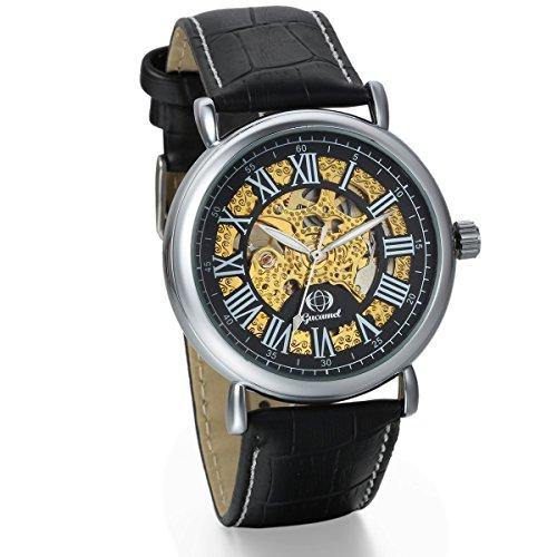 JewelryWe Herren mechanische Armbanduhr Business Casual Skelett Mechanik Leder Armband Uhr mit roemische Ziffern Zifferblatt Schwarz Gold