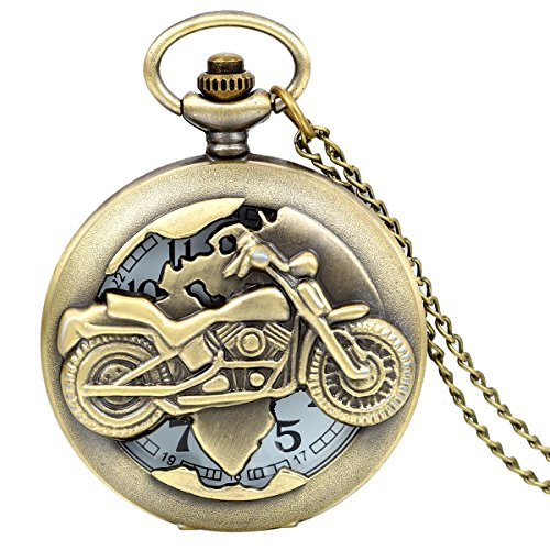 JewelryWe Vintage Bronze Motorrad Taschenuhr Herren Analog Quarz Uhr mit Halskette Kette Umhaengeuhr Pocket Watch Geschenk