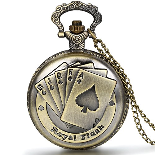 JewelryWe Vintage Taschenuhr Herren Analog Quarz Uhr mit Halskette Kette Kettenuhr Pocket Watch Vatertag Geschenk Royal Flush Poker Spielkarten
