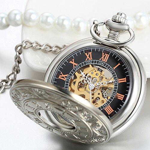 JewelryWe Klassiker Retro Taschenuhr roemische Ziffern Herren Handaufzug mechanische Kettenuhr Skelett Uhr mit Halskette Kette Umhaengeuhr Vatertag Geschenk Silber