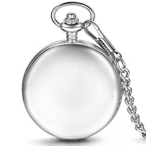 JewelryWe Herren Damen Taschenuhr Classic Glaenzend Handaufzug mechanische Uhr Kettenuhr mit Halskette Kette Umhaengeuhr Vatertag Muttertag Geschenk Silber