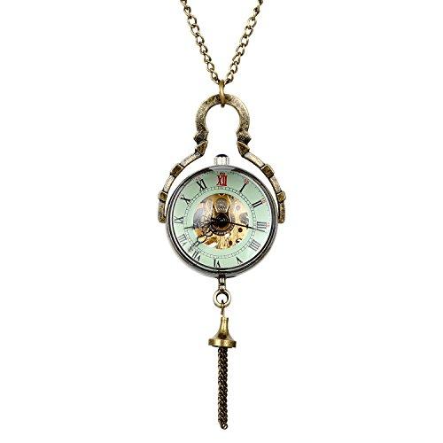 JewelryWe Damen Taschenuhr Retro Handaufzug Mechanische Uhr mit Roemische Ziffer Zifferblatt Pullover Halskette Kette