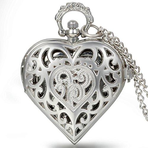 JewelryWe Vintage Taschenuhr Damen Herz Kettenuhr Analog Quarz Uhr mit Halskette Kette Umhaengeuhr Pocket Watch Muttertag Geschenk Silber