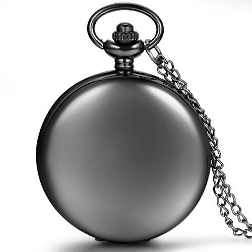 JewelryWe Herren Damen Taschenuhr Classic Glaenzend Kettenuhr Analog Quarz Uhr mit Halskette Kette Umhaengeuhr Pocket Watch Geschenk Schwarz