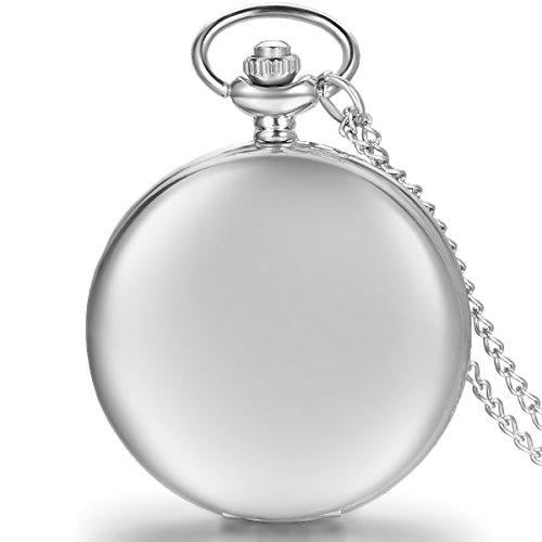 JewelryWe Herren Damen Taschenuhr Classic Glaenzend Kettenuhr Analog Quarz Uhr mit Halskette Kette Umhaengeuhr Pocket Watch Geschenk Silber