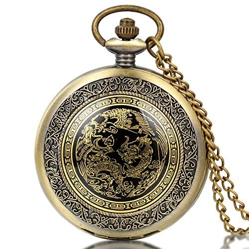 JewelryWe Retro Taschenuhr Drachen Phoenix Herren Kettenuhr Analog Quarz Uhr mit Halskette Kette Pocket Watch Vatertag Geschenk