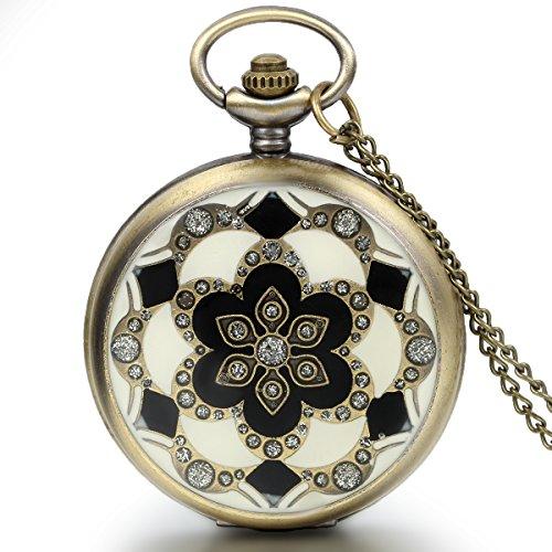 JewelryWe Damen Taschenuhr Epoxid Kirschbluete Kettenuhr Analog Quarz Uhr mit Halskette Kette Umhaengeuhr Pocket Watch Muttertag Geschenk Bronze
