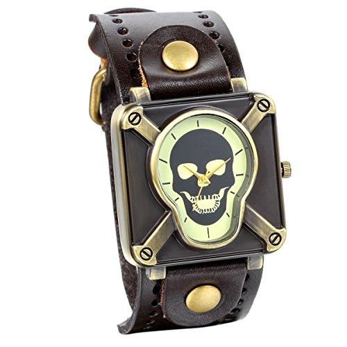 JewelryWe Vintage Herren Punk Rock Analog Quarz Uhr mit Quadrat Totenkopf Schaedel Zifferblat Breit Leder Armband Braun